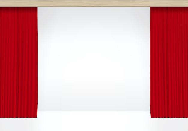Weiße szene mit roten vorhängen