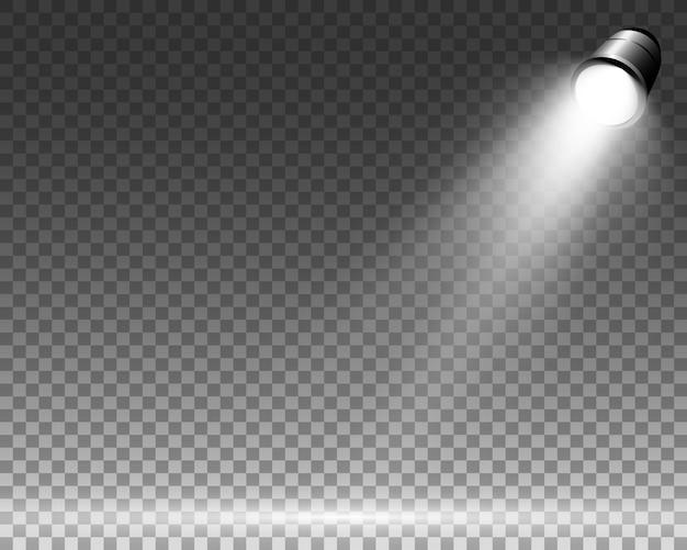 Weiße szene mit scheinwerfern. illustration.