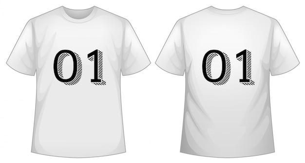 Weiße t-shirt-vorlage mit vorder- und rückseite