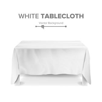 Weiße tabelle mit tischdeckenillustration