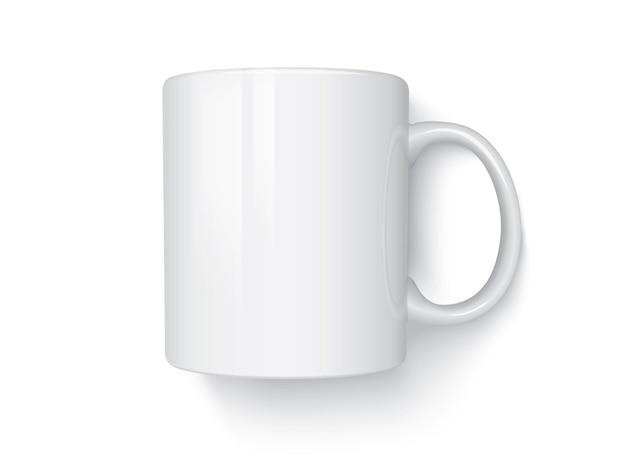 Weiße tasse isoliert auf weißem hintergrund draufsicht vektor-mock-up