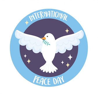 Weiße taube des internationalen friedenstages, die zweig in der fliegenden vektorillustration hält