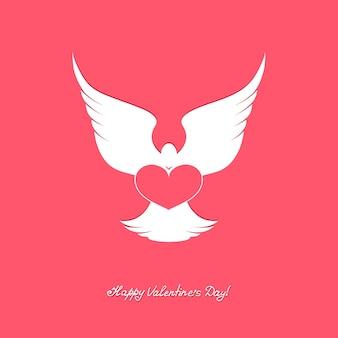 Weiße taube mit rosa herzen. fröhlichen valentinstag.