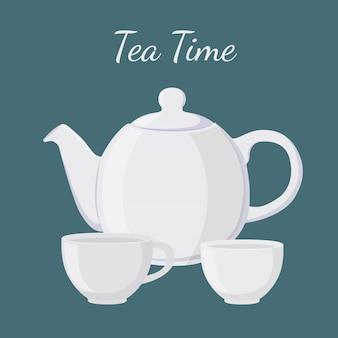 Weiße teekanne und tasse im flachen cartoonstil.