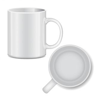 Weiße teetasse. seitenansicht und draufsicht.