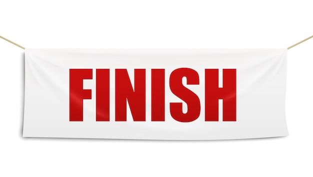 Weiße textilfahne der ziellinie der rennstrecke mit roten buchstaben, realistische illustrationsschablone auf weißem hintergrund. wettbewerbsendflagge.