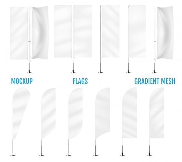 Weiße textilfahnenflaggen