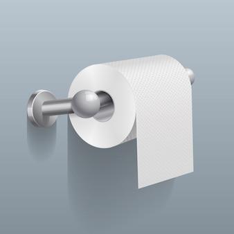 Weiße toilettenpapierrolle