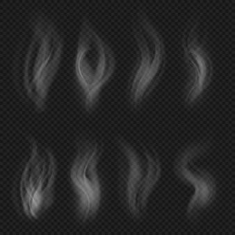 Weiße transparente rauchansammlung. heißer dampf von lebensmittel lokalisiertem satz. rauchen sie die transparente dampf-, kaffee- oder zigarettendampfheiße illustration