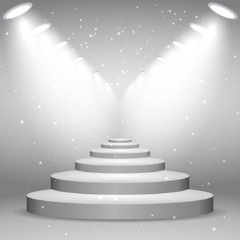 Weiße treppe beleuchtet durch scheinwerfer, realistische darstellung