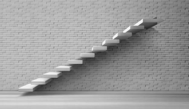 Weiße treppe der 3d treppe auf backsteinmauer