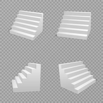 Weiße treppe lokalisiert im transparenten hintergrund. treppe isoliert, 3d treppe für innentreppen. treppenhausarchitekturkonzept. illustration.