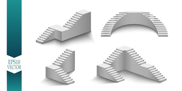 Weiße treppen, 3d-treppen. einstellen. auf weißem hintergrund isoliert