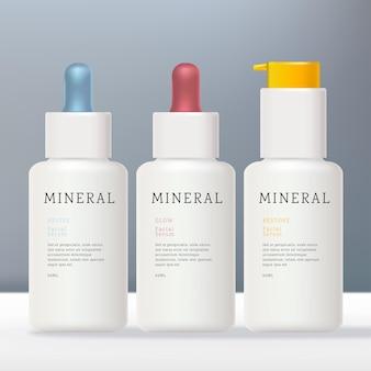 Weiße tropfflasche aus kunststoff oder undurchsichtigem glas mit vibrierender farbpumpe oder tröpfchen
