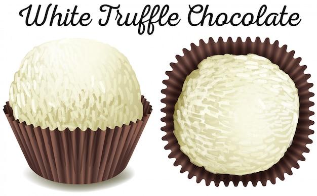 Weiße trüffelschokolade in der braunen schale