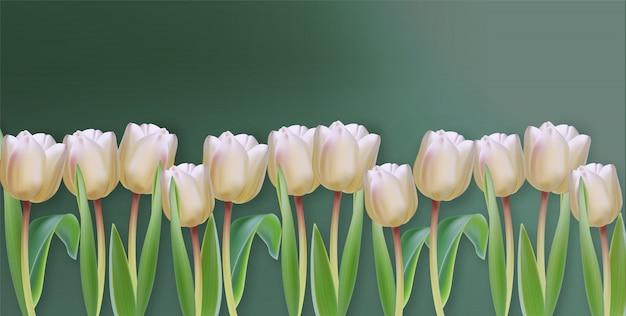 Weiße tulpe blüht realistische fahne