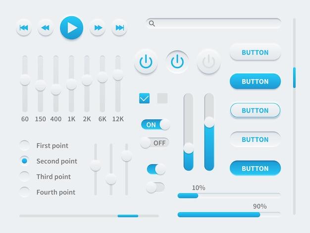 Weiße ui. elemente der benutzeroberfläche in blau und weiß für mobile apps, websites, anzeigeschaltflächen für soziale medien, schieberegler und selektoren, schalter setzen vektorillustrationsvorlage