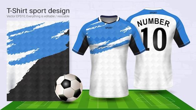 Weiße und blaue fußball jersey und t-shirt sport-modell-vorlage