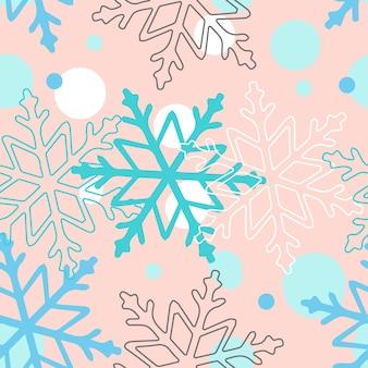 Weiße und blaue schneeflocken auf einem rosa hintergrund. vektor nahtlose muster für festliches design, weihnachtstapete, banner, verpackung, wrapper