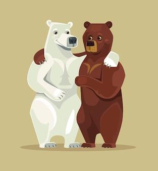 Weiße und braune bären umarmen sich. flache karikaturillustration