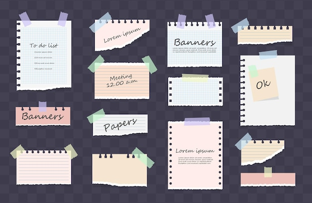 Weiße und bunte gestreifte notiz, heft, notizbuchblatt