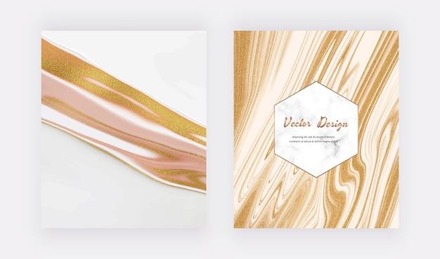 Weiße und flüssige tinte mit goldenen glitzerabdeckungen