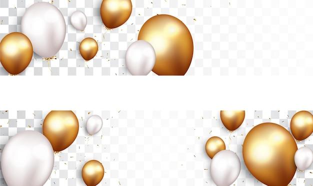 Weiße und goldene luftballons