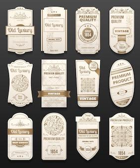 Weiße und goldene retro-vintage-luxusetiketten mit realistischem set unterschiedlicher form, isoliert auf schwarz
