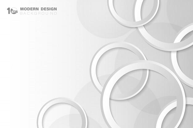 Weiße und graue kreistechnologie des abstrakten farbverlaufs gestalten technischen designgrafikhintergrund.