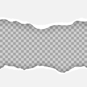 Weiße und graue realistische horizontale papierstreifen mit platz für text, satz zerrissener und zerrissener papierstreifen ,.