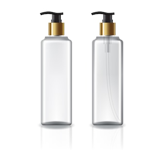 Weiße und klare quadratische kosmetikflasche mit goldenem pumpenkopf.