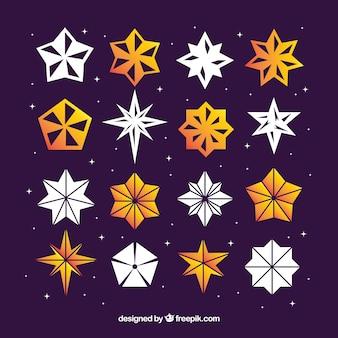 Weiße und orange sterne im origami-stil