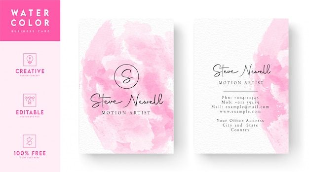 Weiße und rosa abstrakte vertikale aquarell-visitenkarte