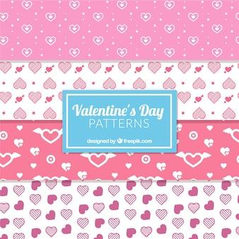 Weiße und rosafarbene muster für den valentinstag