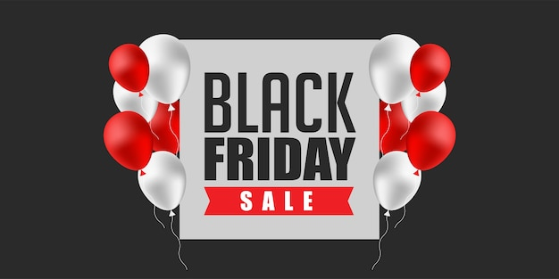 Weiße und rote luftballons des black friday sale banner design template