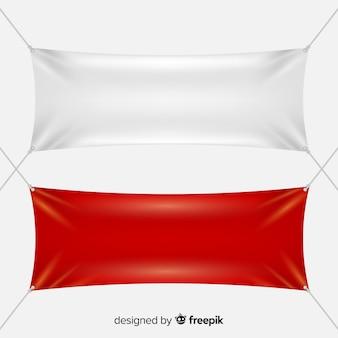 Weiße und rote textilfahnen