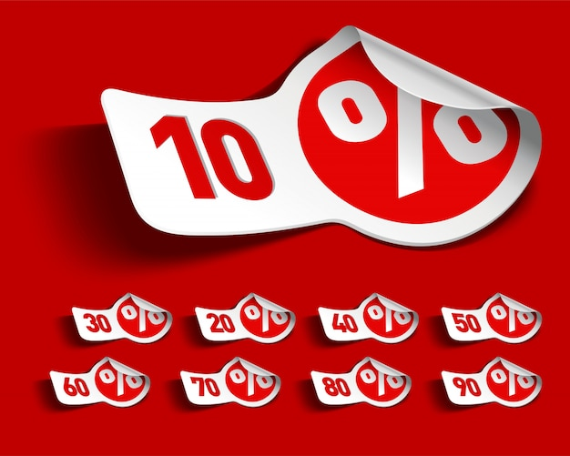 Weiße und rote verkaufsförderungsetikettenillustration
