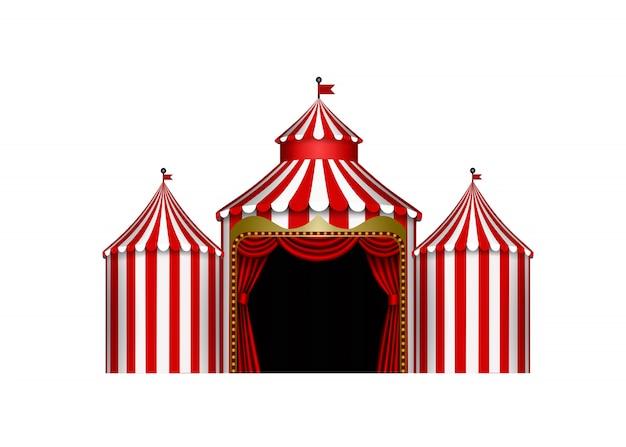 Weiße und rote zirkusbühnenillustration