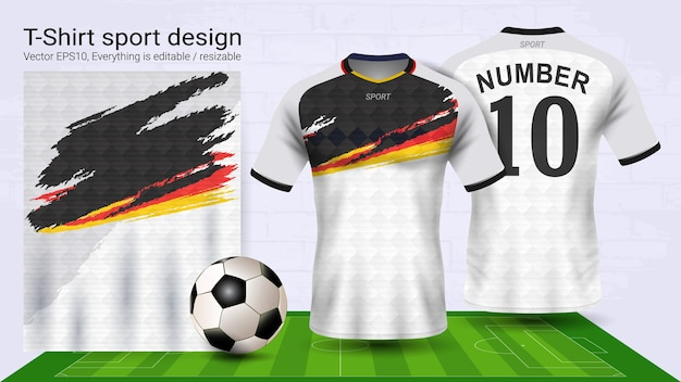 Weiße und schwarze fußball jersey und t-shirt sport-modell-vorlage