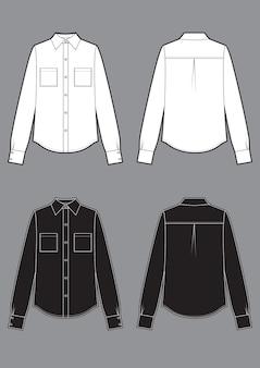 Weiße und schwarze hemden mit langen ärmeln, flache skizzenvorlage für mode. klassische vektorskizze