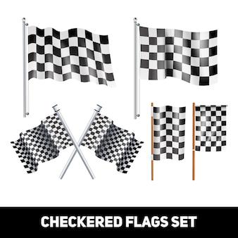 Weiße und schwarze karierte flaggen auf dekorativem ikonensatz der welle und des pfostens realistische farb