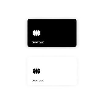 Weiße und schwarze kreditkartenvorlage