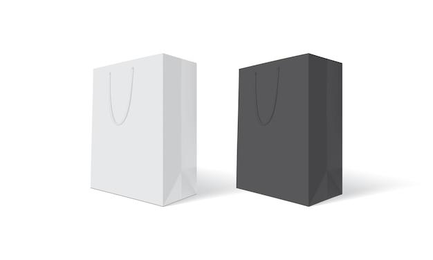 Weiße und schwarze papiertüte
