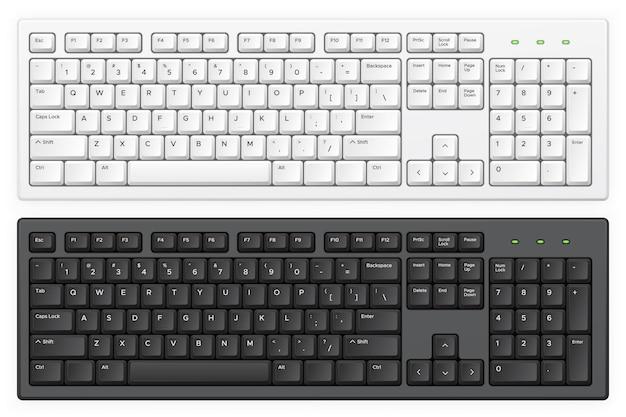 Weiße und schwarze pc-tastaturen mit englischem qwertz-alphabet