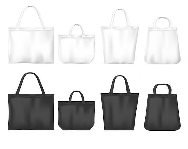 Weiße und schwarze umweltfreundliche einkaufstaschen