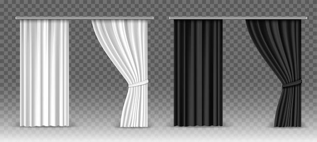 Weiße und schwarze vorhänge des vektors lokalisiert auf transparent