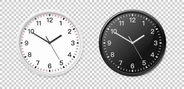 Weiße und schwarze wand bürouhr icon-set. entwurfsschablonennahaufnahme im vektor eps10. mock-up für branding und werbung auf transparentem hintergrund.