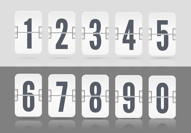 Weiße vektornumerische vorlage für ihr design. satz flip-scoreboard mit reflexionen, die auf unterschiedlicher höhe schweben, einschließlich zahlen und symbolen für countdown-timer auf hellem und dunklem hintergrund.
