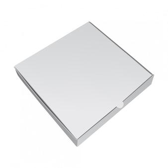 Weiße verpackungsbox für pizza. realistische illustration