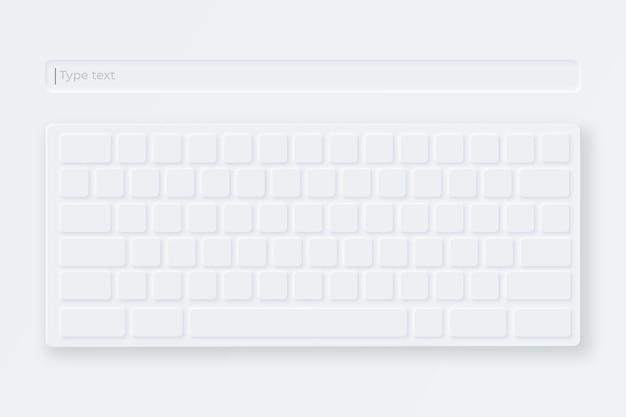 Weiße virtuelle tastatur. leichte tastatur im neumorphen stil.